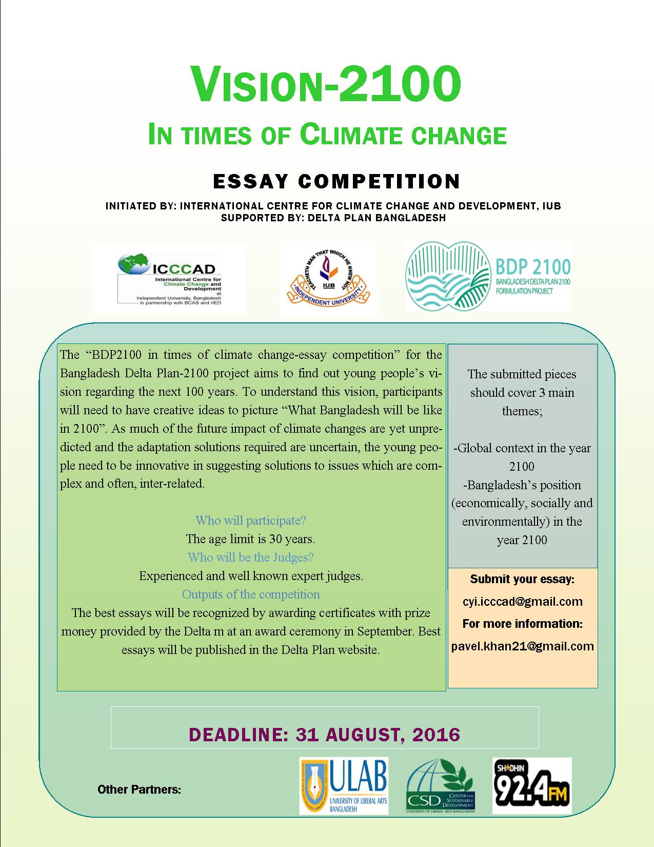climate essay climate youth initiative cyi international centre  climate youth initiative cyi international centre for climate vision 2100 essay competition